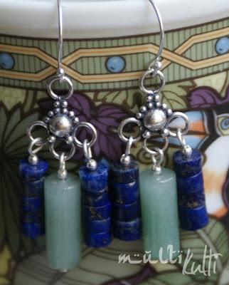 srebrne kolczyki z awenturynem i lapis lazuli