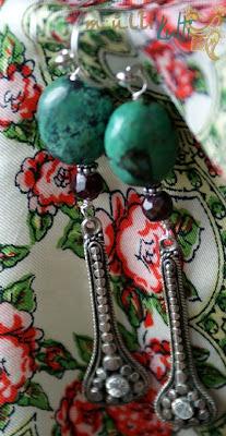 długie kolczyki z turkusem i granatem