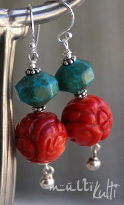 kolczyki koral turkus