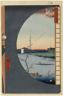 Hiroshige - View from Massaki of Suijin Shrine, 1857. c. Brooklyn Museum.
