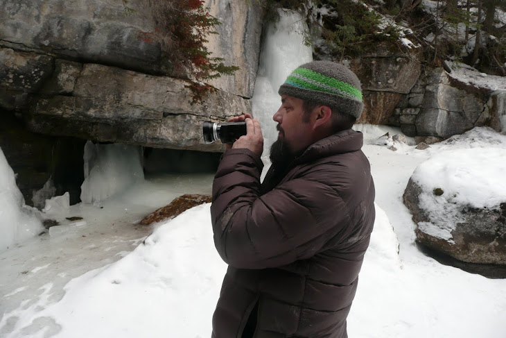 Tim filming in Maligne Canyon