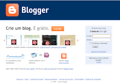 Nova página de Login e Tour do Blogger
