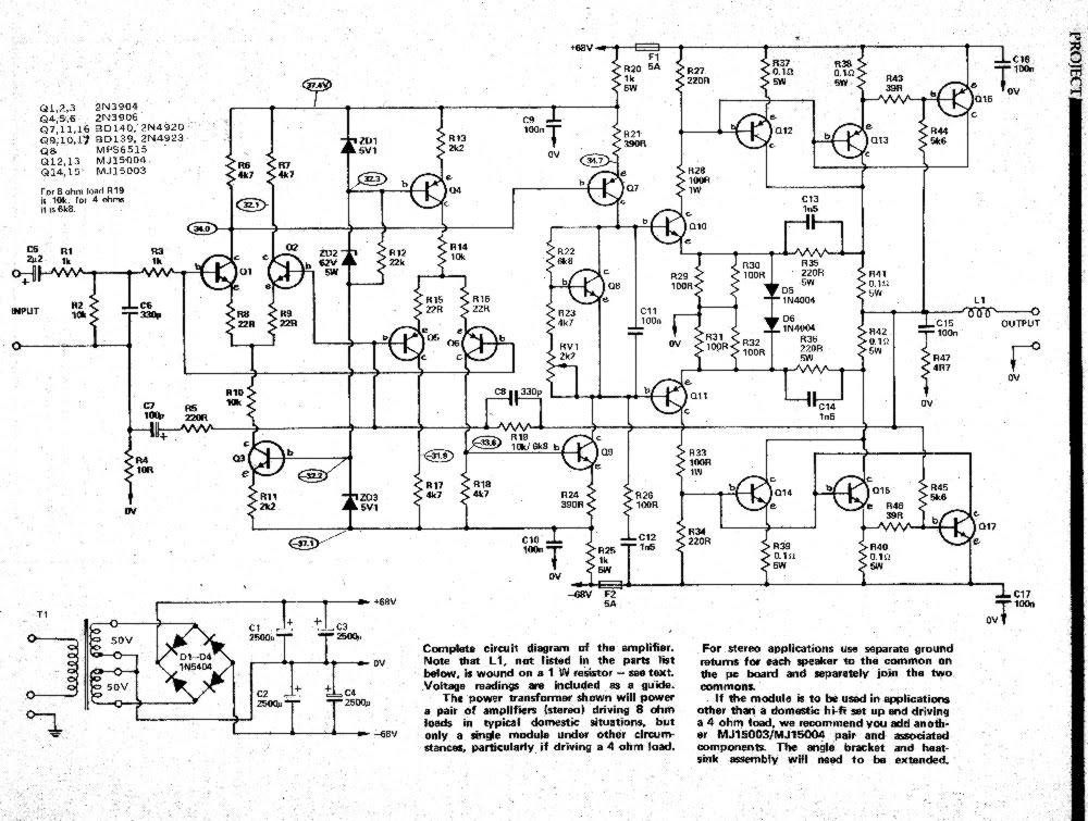 ro electronica  the brute 300w audio amplifier schematic