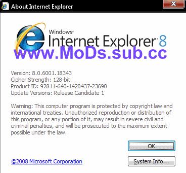 Internet Explorer 8 RC1 8.0.18343 Download