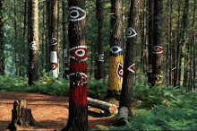 Spain, trees painted by Agustin Ibarrola in Oma forest