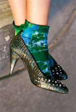 Tie dyed socks with rhinestone pumps