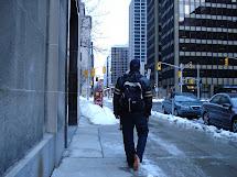 Women Walking Barefoot in Winter
