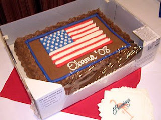 Obama '08 cake ~ Election Night at the Flamingo Hotel Ballroom, Santa Rosa, California