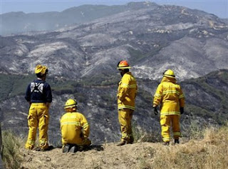 Mendocino Co. strike team, Hopland Fire Dist. members, looking out over San Marcos pass