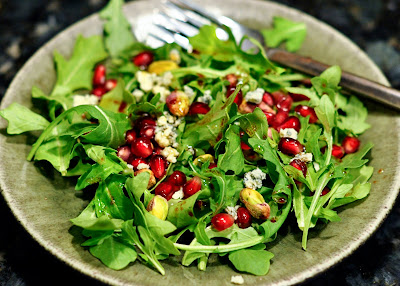 Arugula with Pomegranate, Pistachio, and Blue Cheese