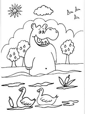 Dibujos gratis para imprimir y colorear de hipopótamos 圖片, 上色: 2007