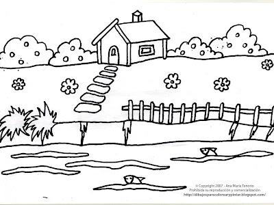 casa con jardn. dibujos de casas listas para imprimir y colorear con ...