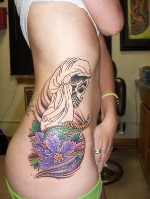 Women Face Skull Rib Tattoo Design