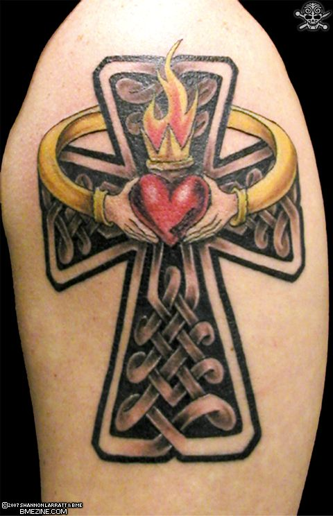 Upper Back Cross Tattoo