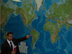 Elder Morton pointing to where he's at in Peru