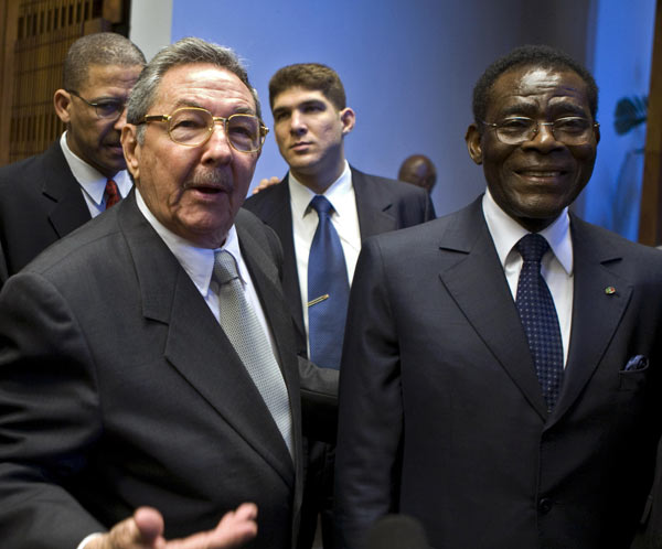 president Obiang with Don Raul Castro President of Cuba