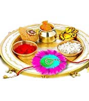 Raksha bandhan the bond of rakhi that defines the love for Aarti thali decoration with grains