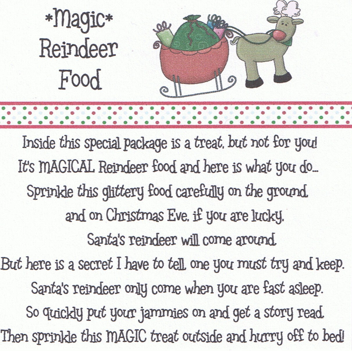 Magic Reindeer Food Poem Printable | New Calendar Template Site