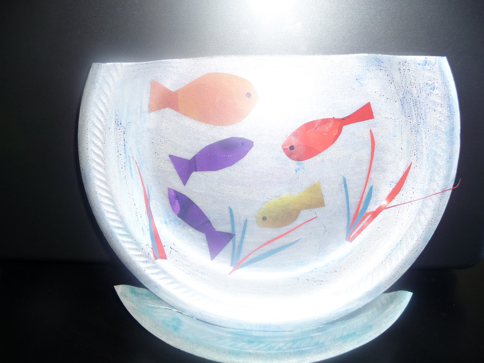 Playdate crafts ideas more paper plate fish bowl for How to make a fish bowl
