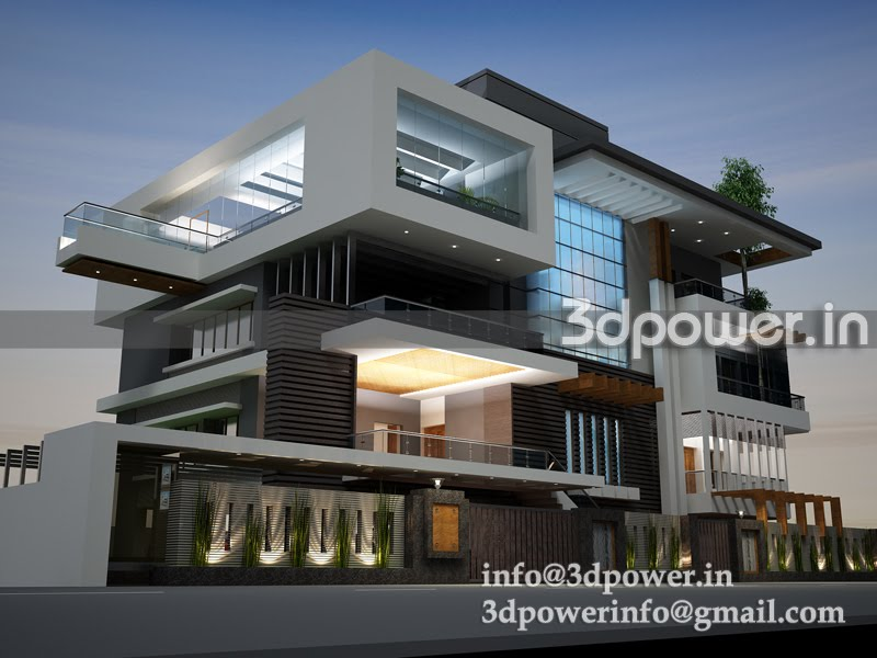 3d evening view of pool villa""