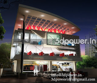 """architectural rendering office building night view"""