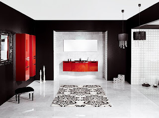baie stil japonez gama culori rosu, alb si negru