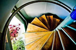 scara interioara model spirala stil modul de coborare al pompierilor