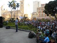 concierto en el parque central de Tegucigalpa