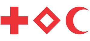 red cross, red cristal and red crescent emblems