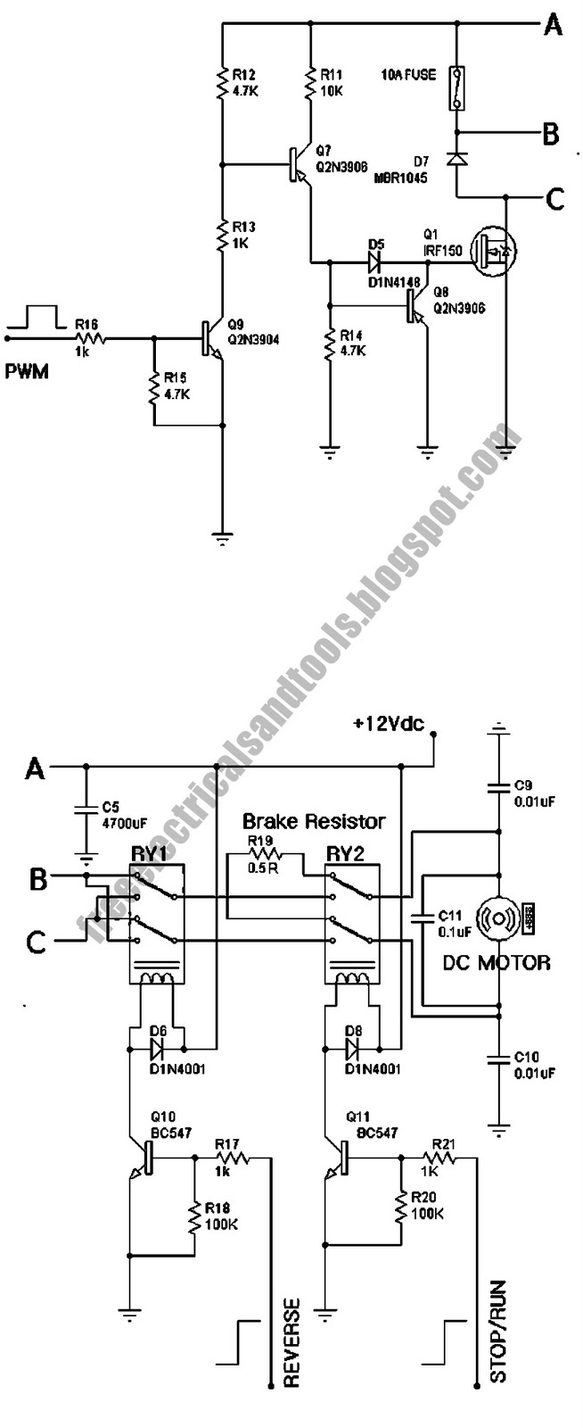 Free schematic diagram pwm speed control circuit using for Regenerative dc motor control