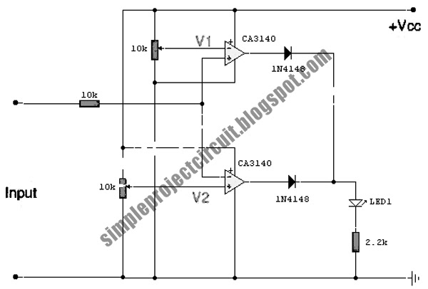 simple project circuit  simple voltage comparator using ca3140