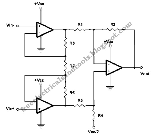 free schematic diagram  single supply instrumentation amplifier circuit