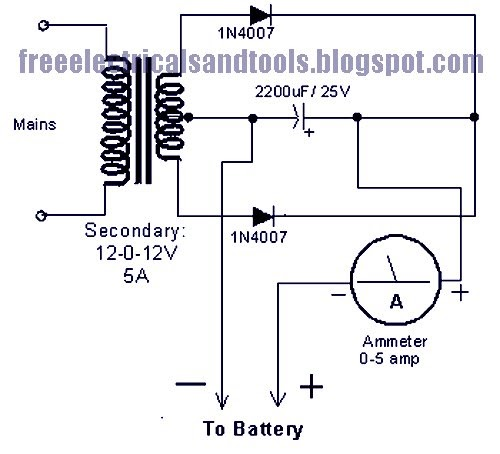 Using 3 Wire Alternator Wiring Diagram Ammeter : Subwoffer wiring diagram battery charger circuit using