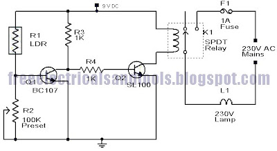 wiring diagram for car: Street Light Circuit Using LDR System