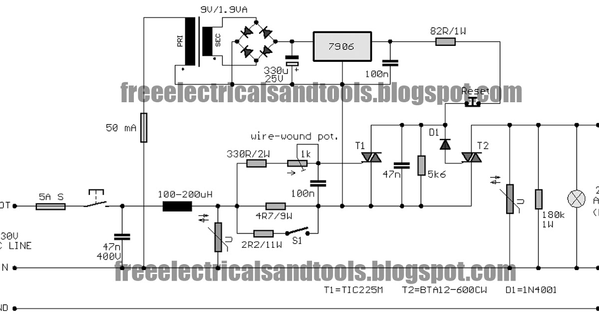 Free Schematic Diagram  Electronic Fuse Circuit For 230v Ac
