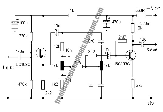 baxandall tone control circuits using two transistor