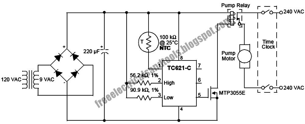 swimming pool solar heat control circuit   electronic