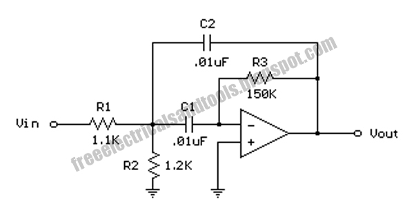 free schematic diagram  single op amp band pass filter