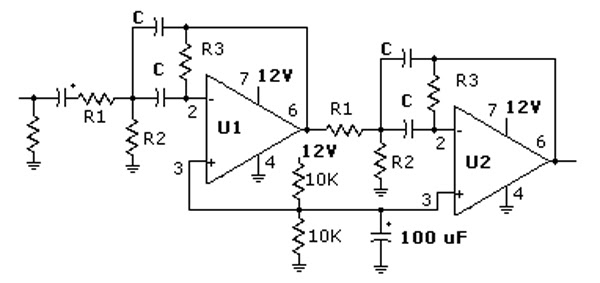 simple project circuit  active band pass filter
