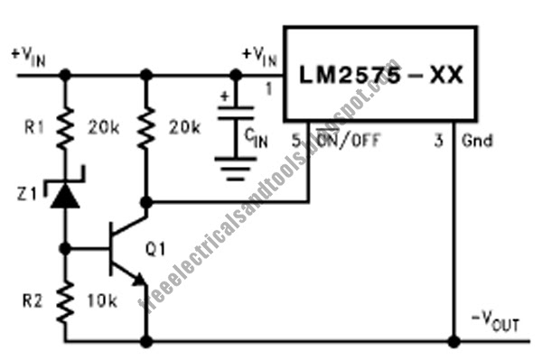 under voltage lockout for buck circuit using lm2575