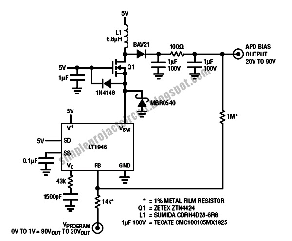 simple project circuit  simple inductor circuit based apd bias supply