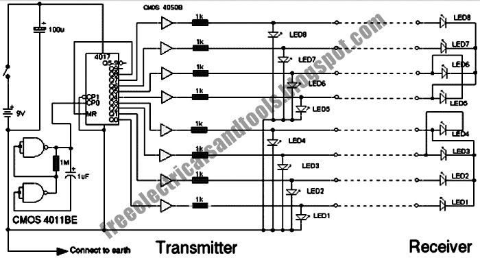 free schematic diagram  multi wire cable tester circuit