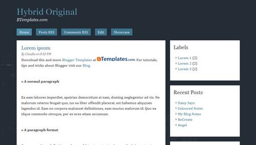 Free Blogger Templates Download: Hybrid Original