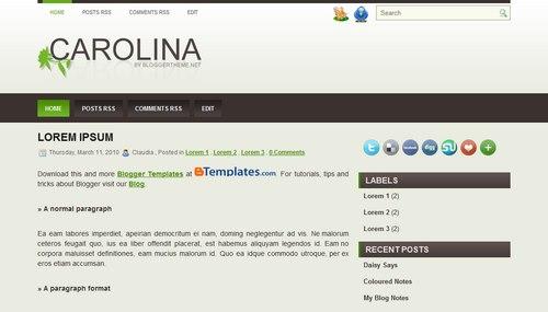 Free Blogger Templates Download: Carolina