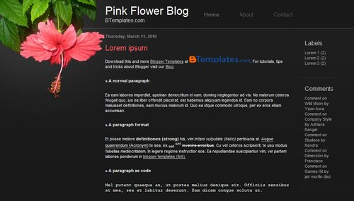 Free Blogger Templates Download: Pink Flower