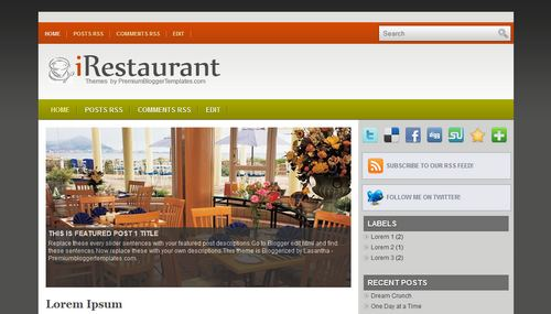 Free Blogger Templates Download: iRestaurant