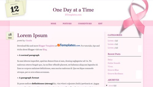 Free Blogger Templates Download: One Day at a Time