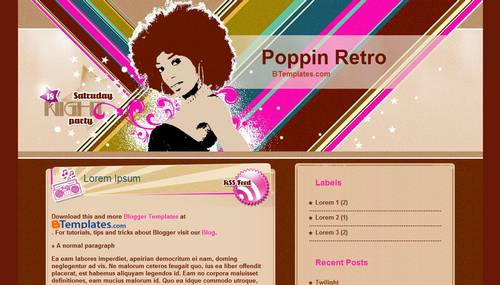 Free Blogger Templates Download: Poppin Retro