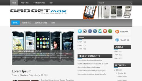 Free Blogger Templates Download: Gadget Max