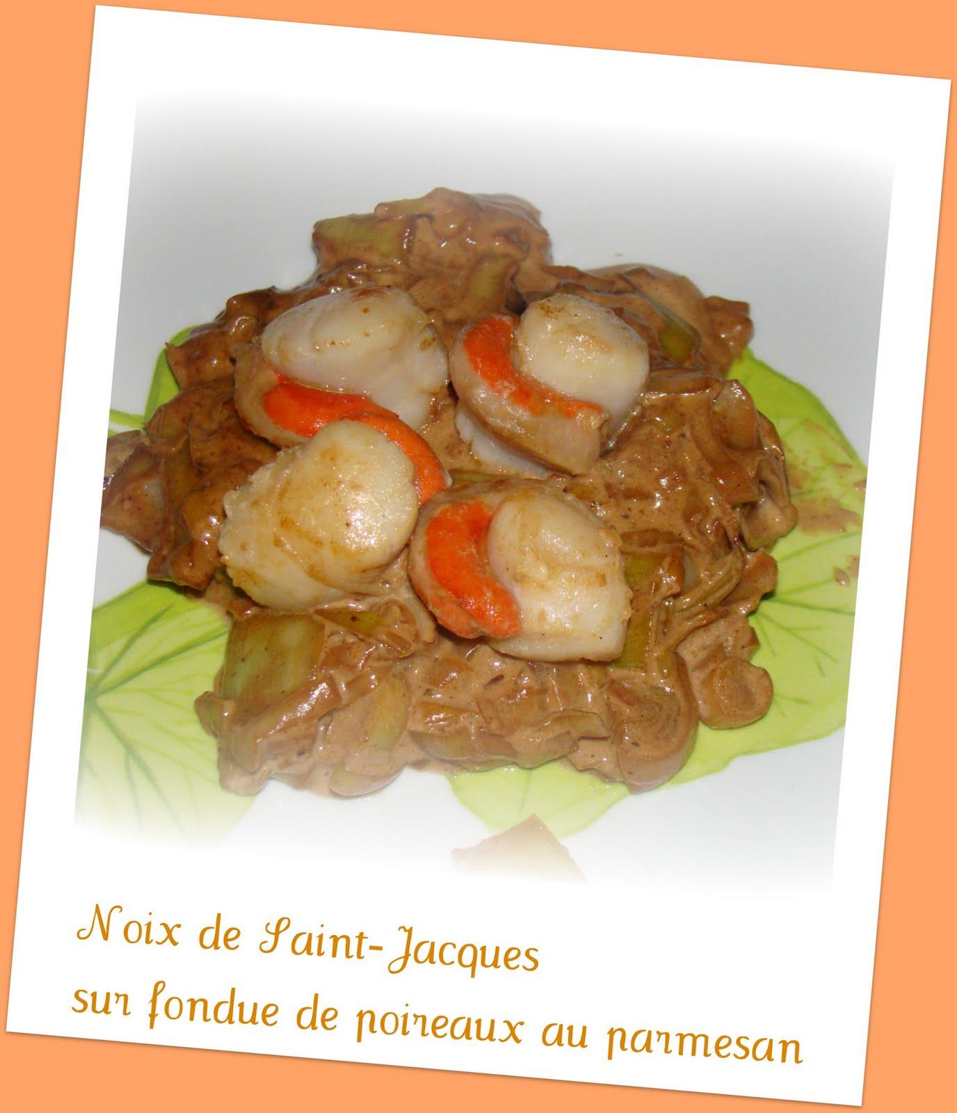 Noix de saint jacques sur fondue de poireaux au parmesan - Noix de st jacques sur lit de poireaux ...